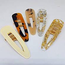 Украшение-заколка для волос Fashion Jewelry Труегольник (крокодил La-Or-triangle) 7см Светло-коричневый с разводами