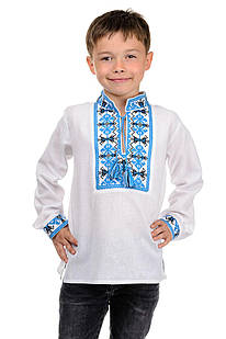 Детская вишиванка для мальчика Козачок ( голубой)