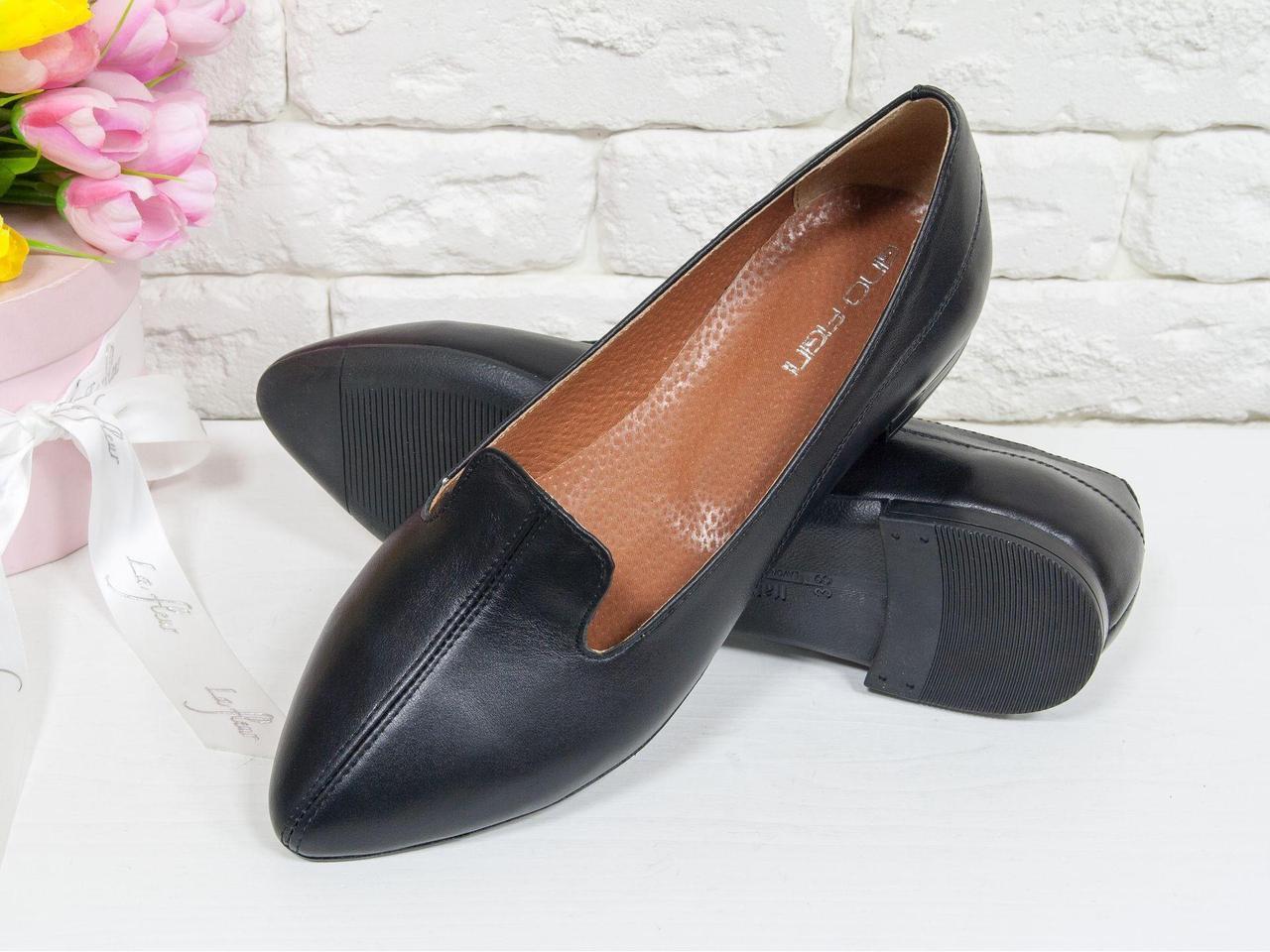 Облегченные туфли из натуральной кожи классического черного цвета, на облегченной тонкой подошве черного цвета