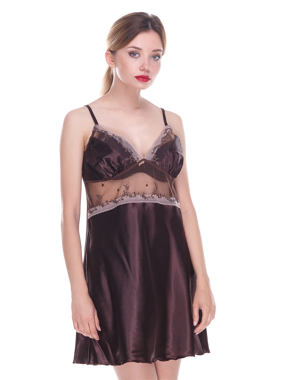 Сорочка Serenade стрейч атлас коричневый с кружевом