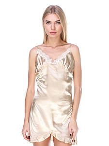 Сорочка Serenade стрейч атлас золотая с кружевом