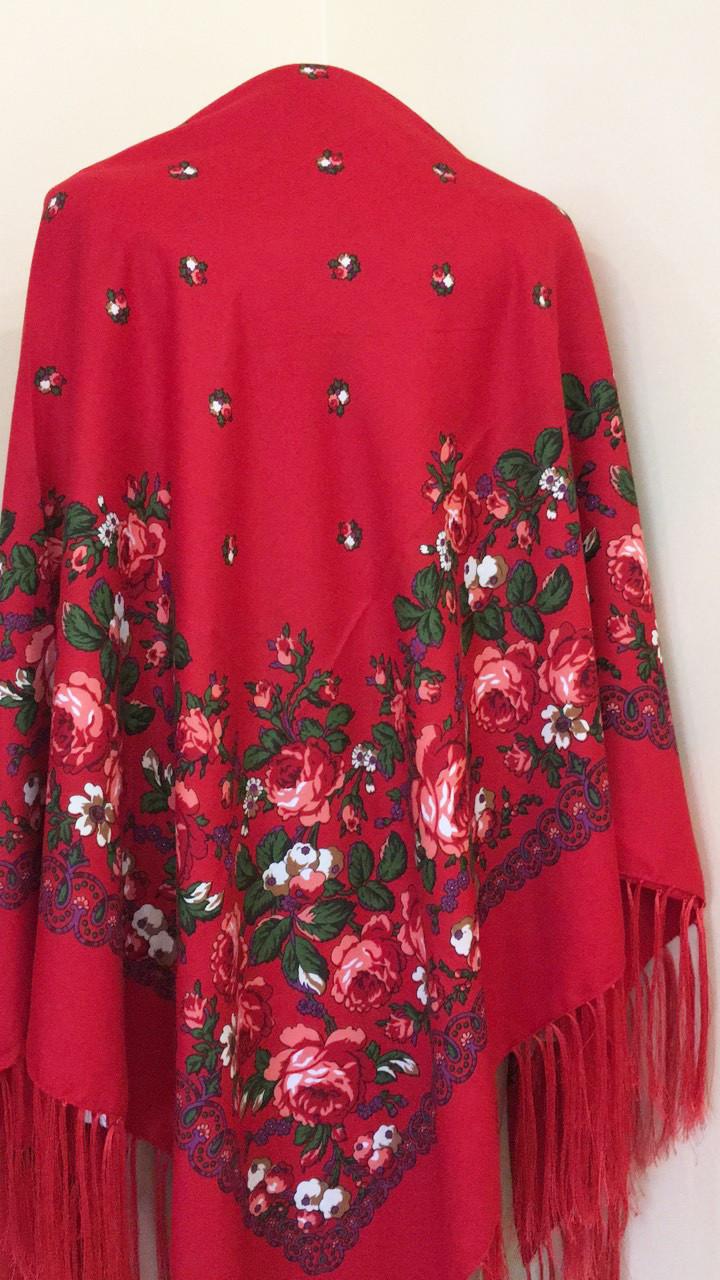 Хустина з квітами та орнаментом Червона 140*140 см, фото 1