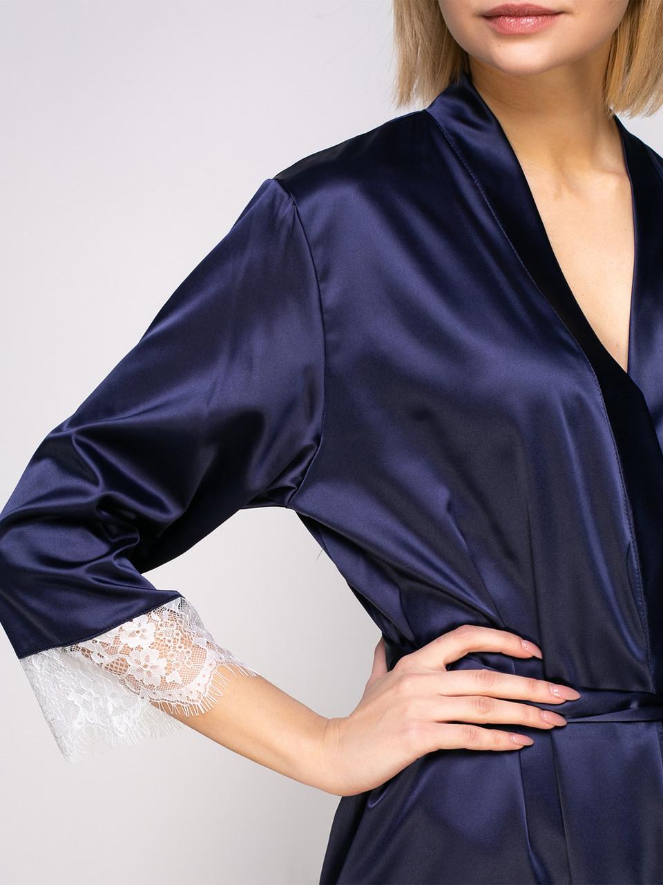Халат Serenade сатин-шёлк синий с шампаневым кружевом 3