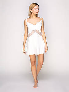 Сорочка Serenade сатин-шёлк ваниль с кружевом