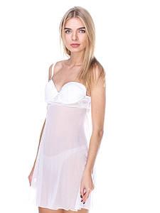 Сорочка Serenade белая сетка с кружевом