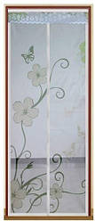 Москітна сітка магнітна на двері біла в квіти