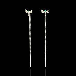 Срібні сережки-протяжки Бабка, фото 2