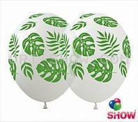 Воздушный шар тропики 30 см белый или прозрачный