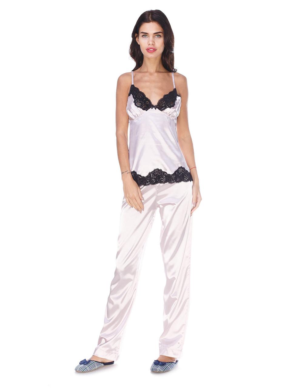Пижама стрейч атлас Serenade палевый с черным кружевом