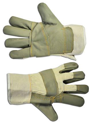 Перчатки рабочие Technics кожаные зеленые (16-176), фото 2