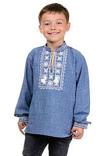 Вышиванка для мальчика Орнамент (джинс)