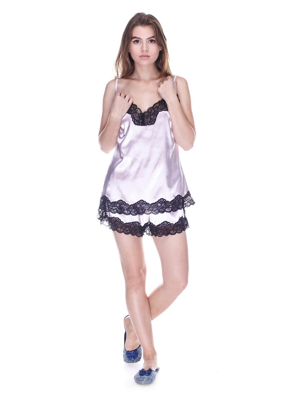 Комплект майка шорты стрейч атлас Serenade палевый с черным кружевом