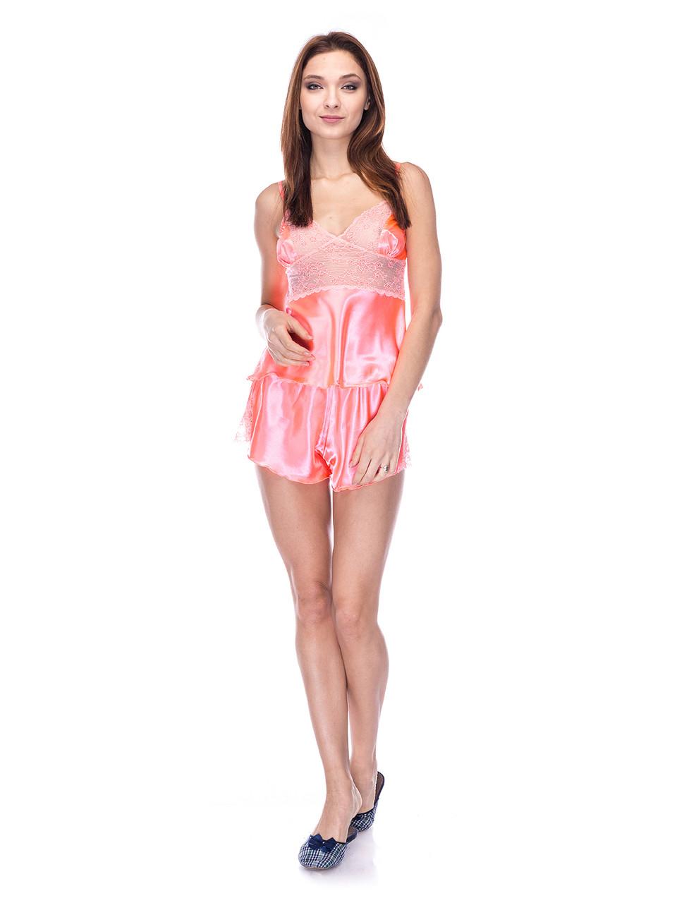 Комплект майка шорты стрейч атлас Serenade абрикосовый с кружевом