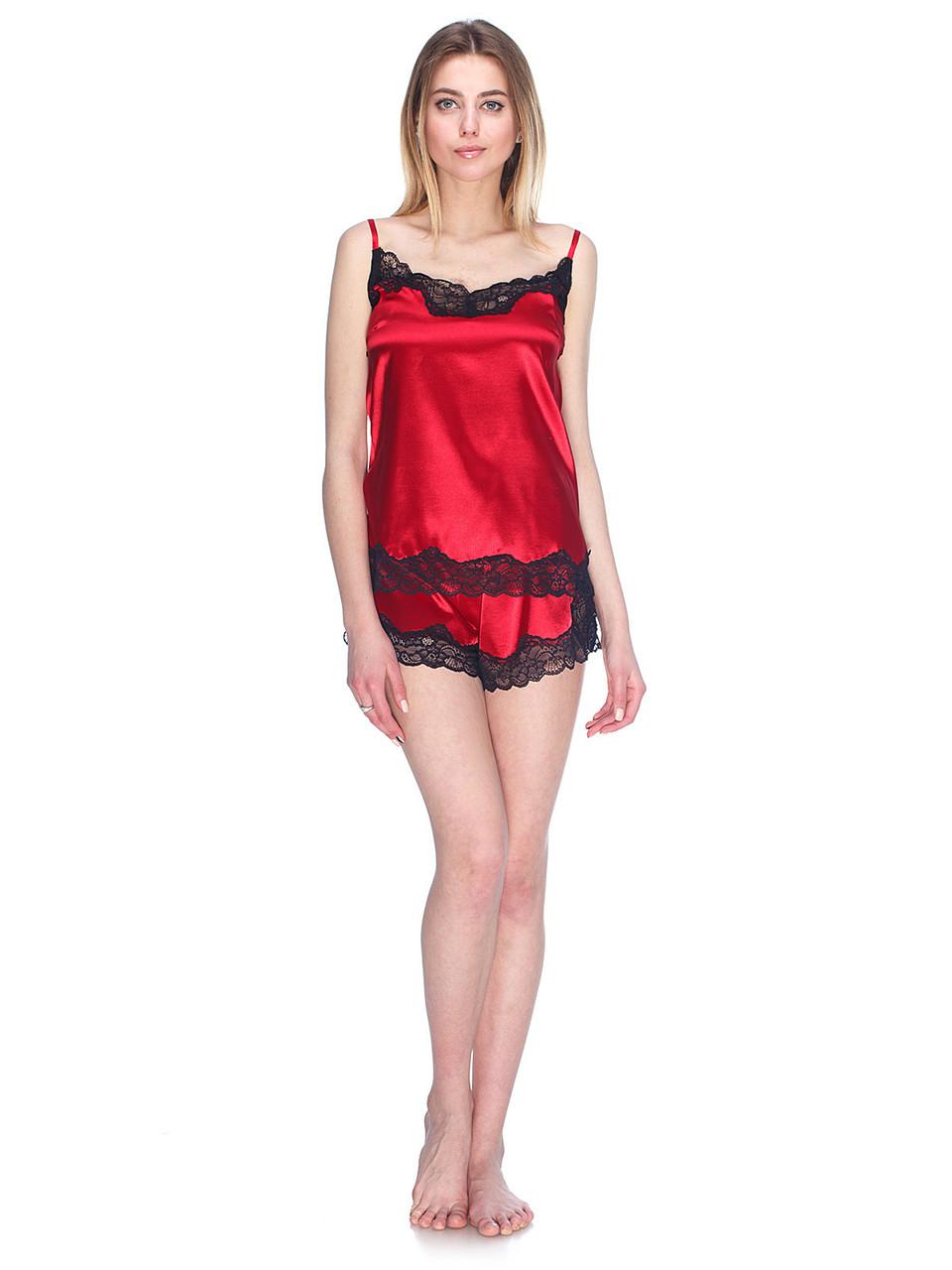 Комплект майка шорты стрейч атлас Serenade темно красный с черным кружевом