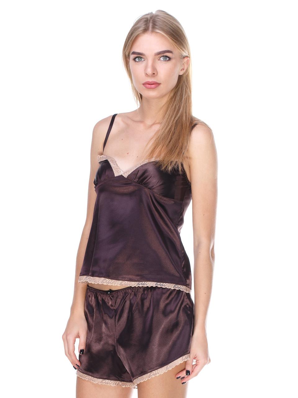 Комплект майка шорты стрейч атлас Serenade коричневый с кружевом