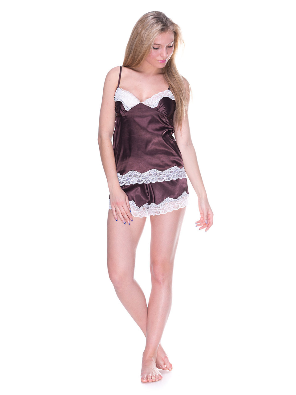 Комплект майка шорты стрейч атлас Serenade шоколад с кружевом