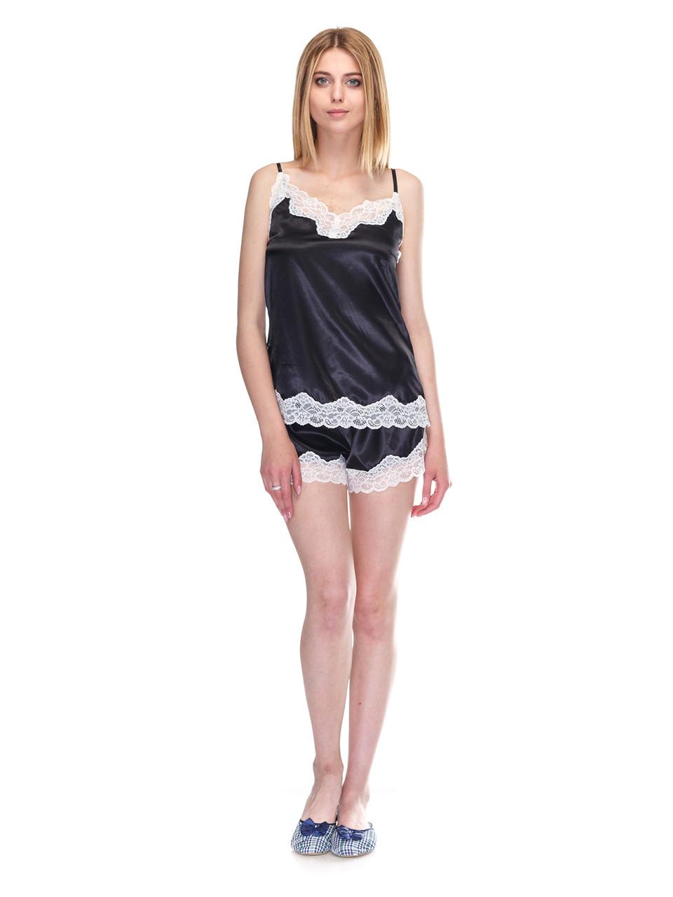 Комплект майка шорты стрейч атлас Serenade черный с кружевом