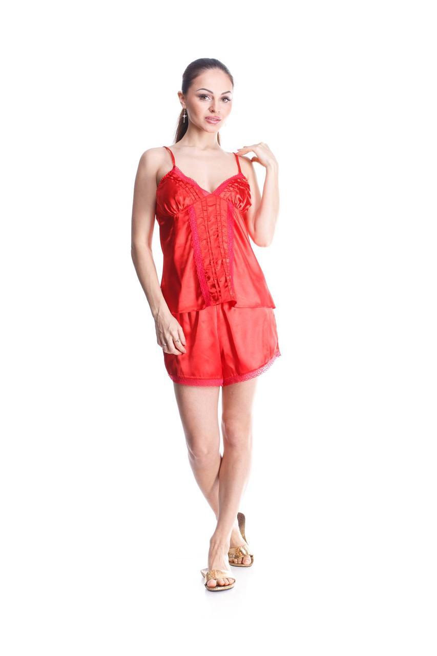 Комплект майка шорты стрейч атлас Serenade красный с кружевом