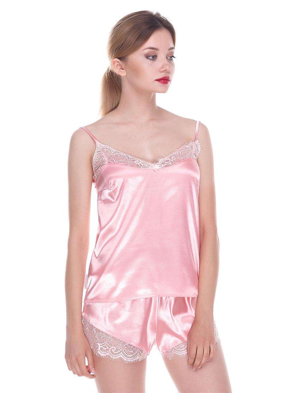 Комплект майка шорты стрейч атлас Serenade розовый с кружевом