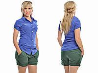 Рубашка женская удлиненная с коротким рукавом, фото 1