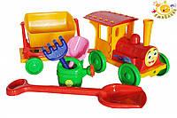 Поезд-конструктор с песочным набором Doloni №1, 3 цветов (013222)