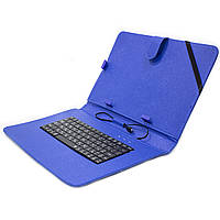 """☀Чехол обложка Lesko 10.1"""" с клавиатурой Blue кабель microUSB для набора текста документов"""