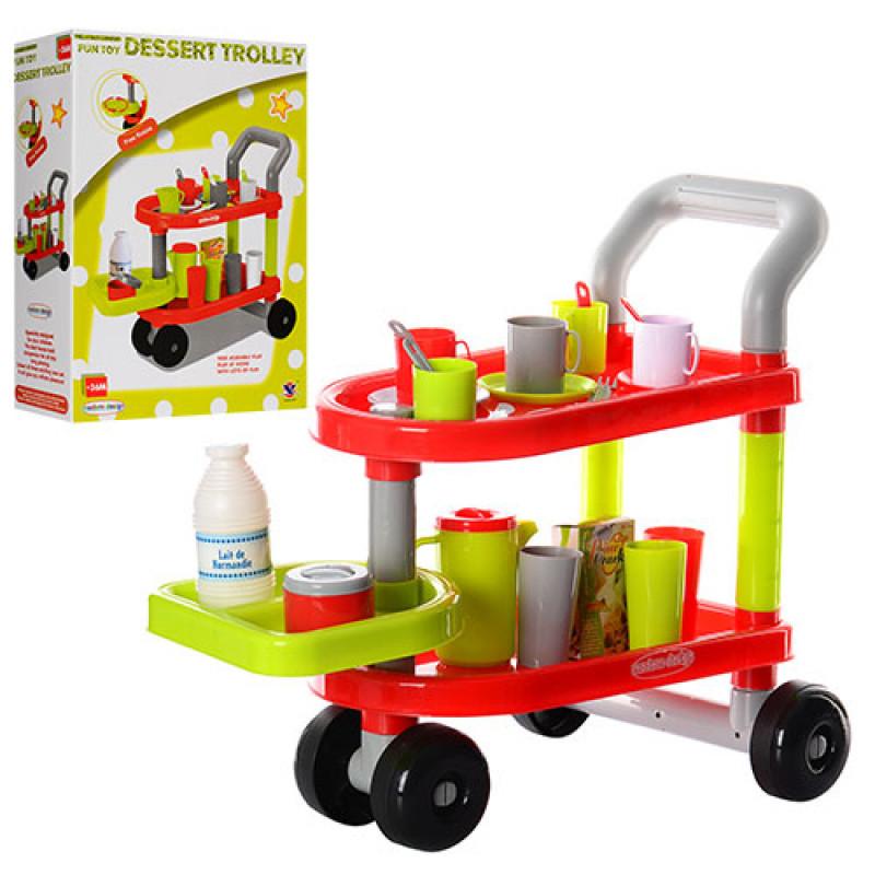 Тележка детская игровая для посуды и продуктов, 14034A