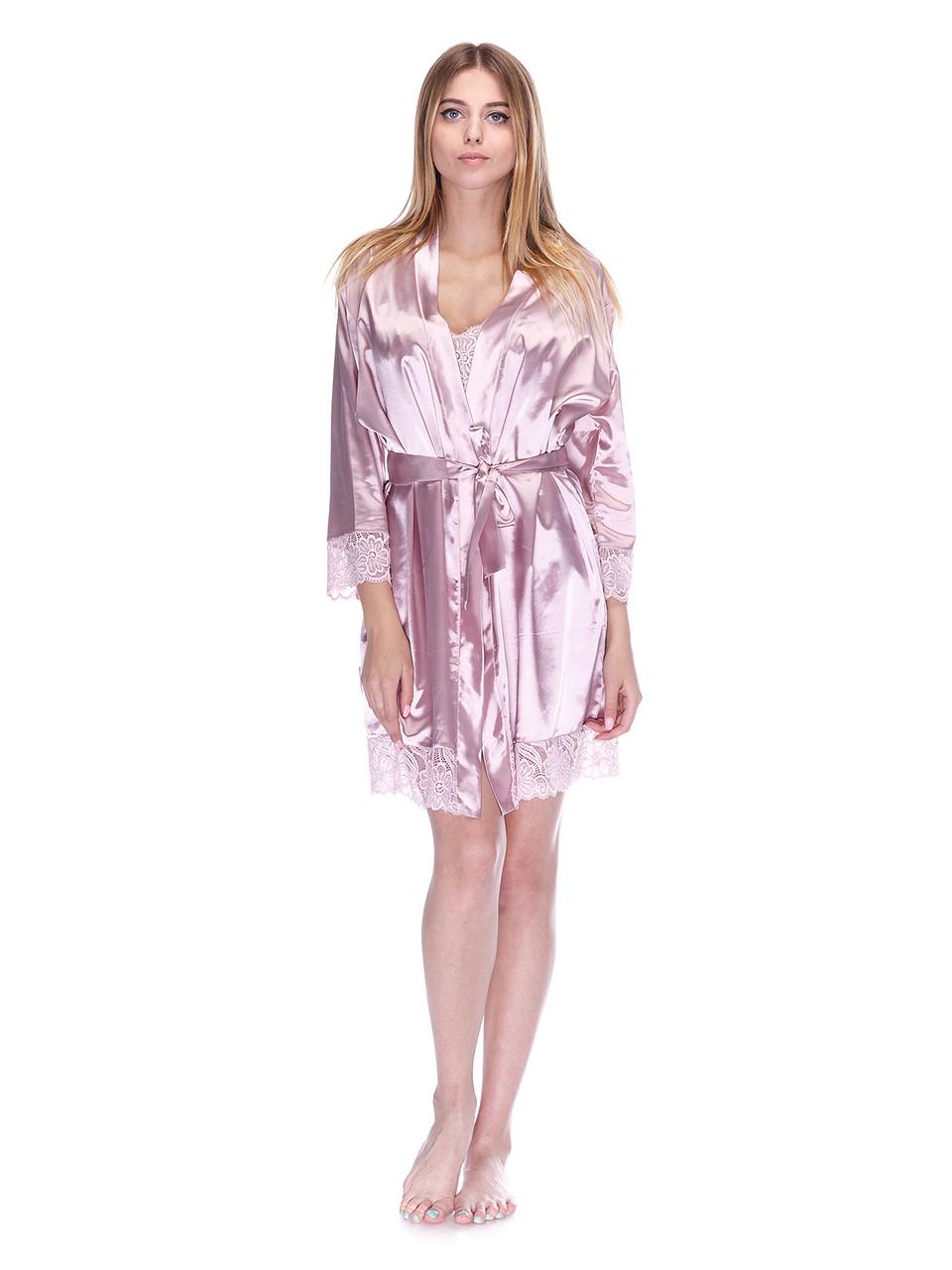 Халат Serenade сатин-шёлк светло розовый с кружевом