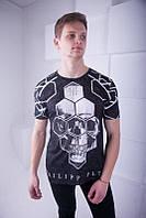 Модная мужская футболка в стиле  Philipp Plein, черного цвета