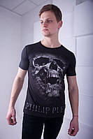 Брендовая мужская футболка в стиле  Philipp Plein черная