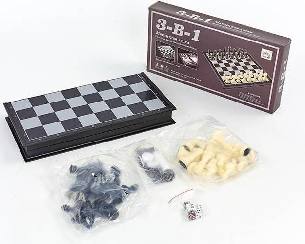 Шахматы, шашки, нарды 3 в 1 дорожные пластиковые магнитные (р-р доски 25см x 25см)