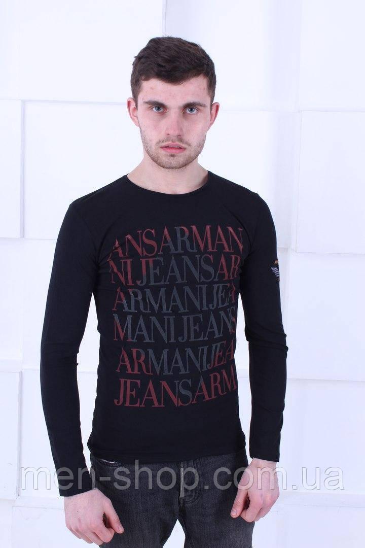 Стильный мужской лонгслив Armani черного цвета