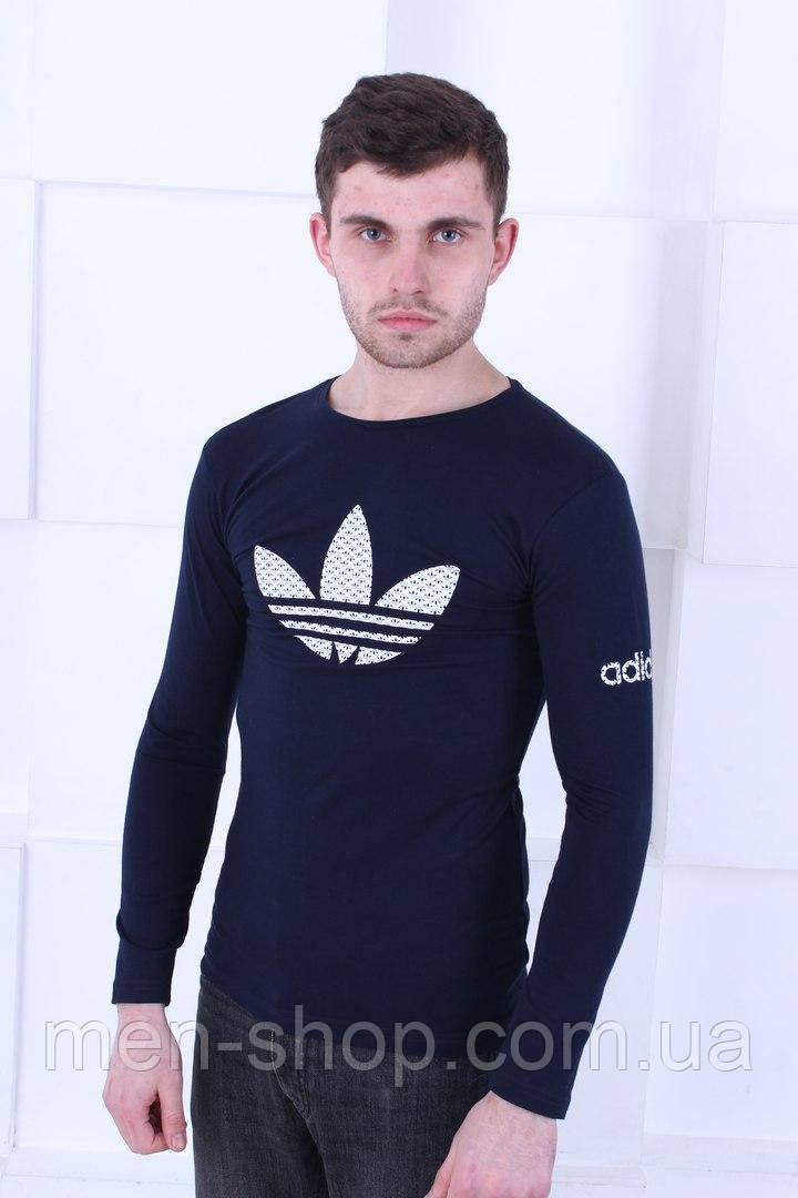 Синяя мужская футболка с длинным рукавом Adidas