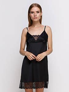 Сорочка Serenade из шёлка Армани черная с кружевом
