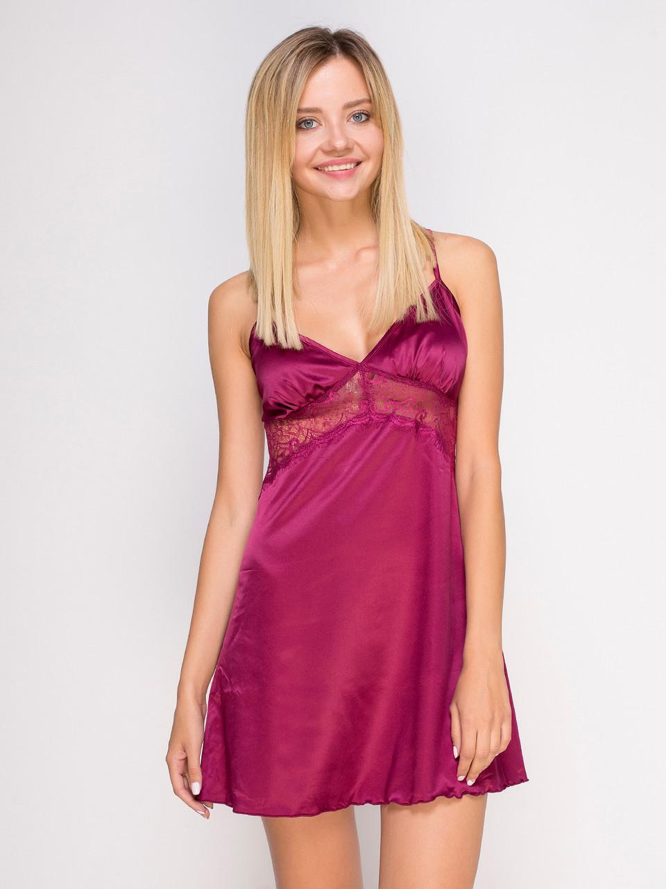 Сорочка Serenade сатин-шовк марсала з мереживом