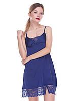 Сорочка Serenade из шёлка Армани синяя с кружевом