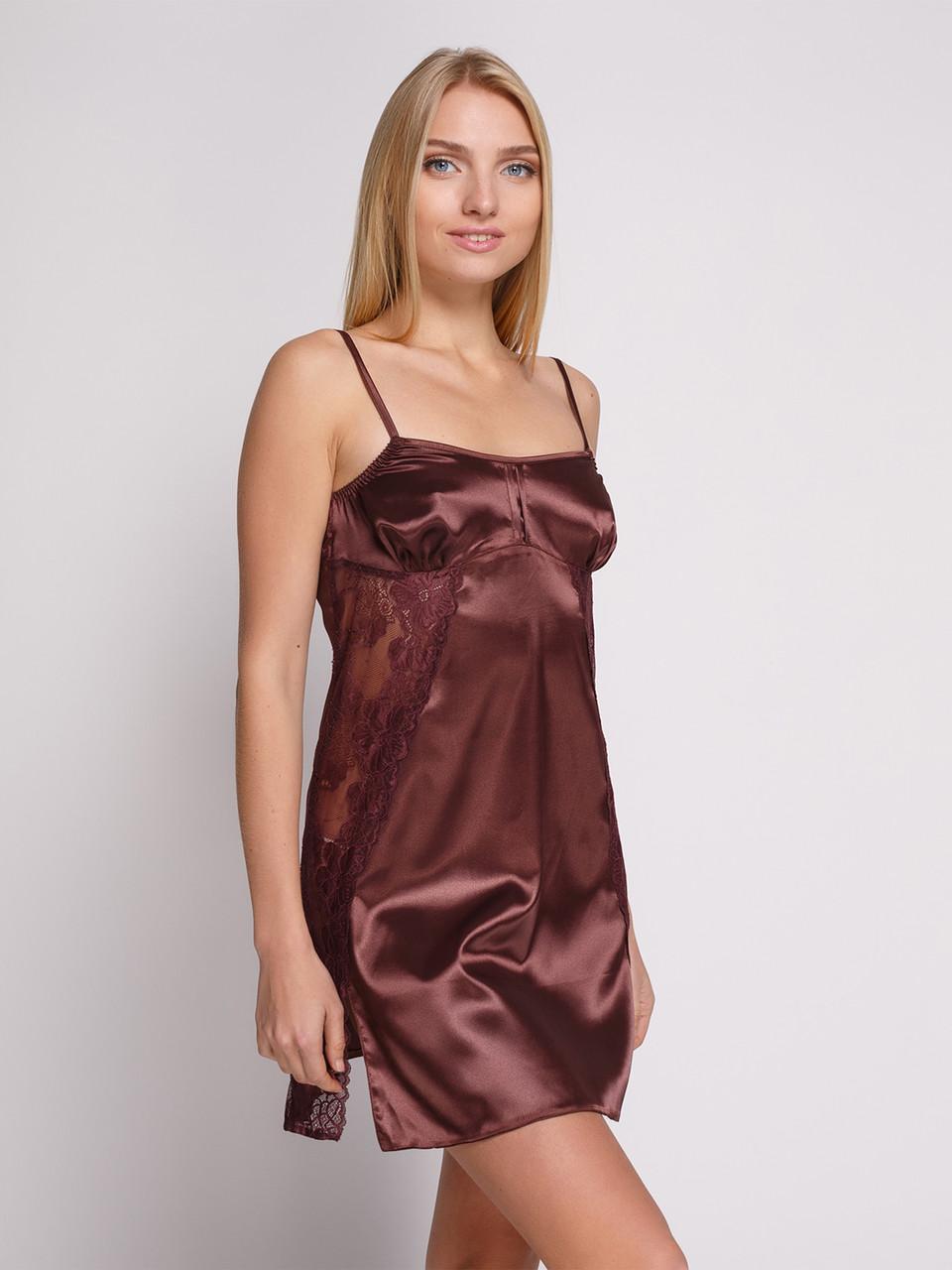 Сорочка Serenade стрейч атлас коричневая с кружевом