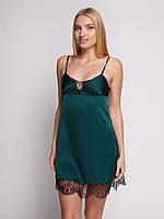 Сорочка Serenade из шёлка Армани  зелёная с чёрным кружевом