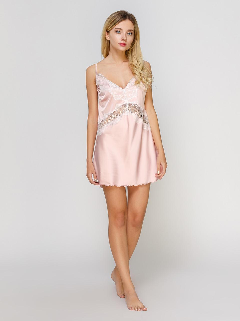 Сорочка Serenade сатин-шёлк пудра c кружевом