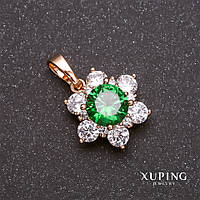Кулон Xuping Цветок с белыми и зеленым камнем 14х12х18мм позолота 18к