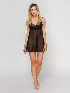 Сорочка Serenade сетка с кружевом черная