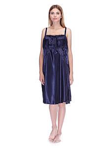 Сорочка Serenade стрейч атлас синяя с кружевом