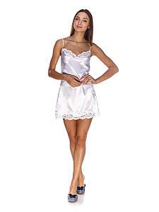 Сорочка Serenade стрейч атлас белая с кружевом