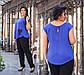 """Летний женский брючный костюм в больших размерах 4135 """"Штапель Кармашки Кружево Контраст"""" в расцветках, фото 2"""