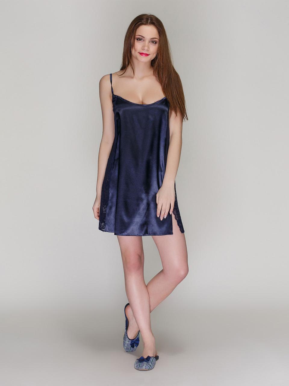 Сорочка Serenade стрейч атлас темно синяя с кружевом
