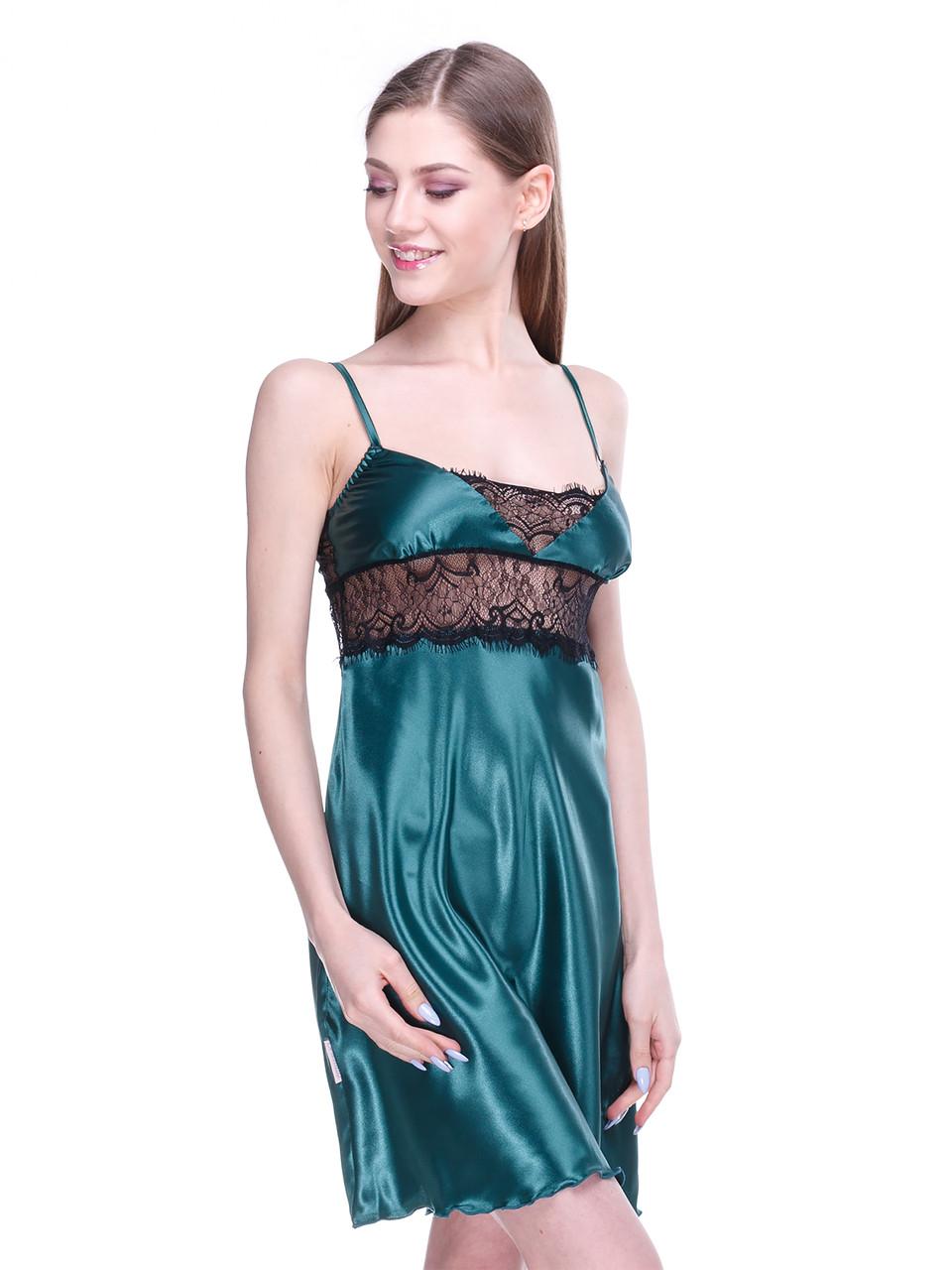 Сорочка Serenade стрейч атлас зеленая с черным кружевом
