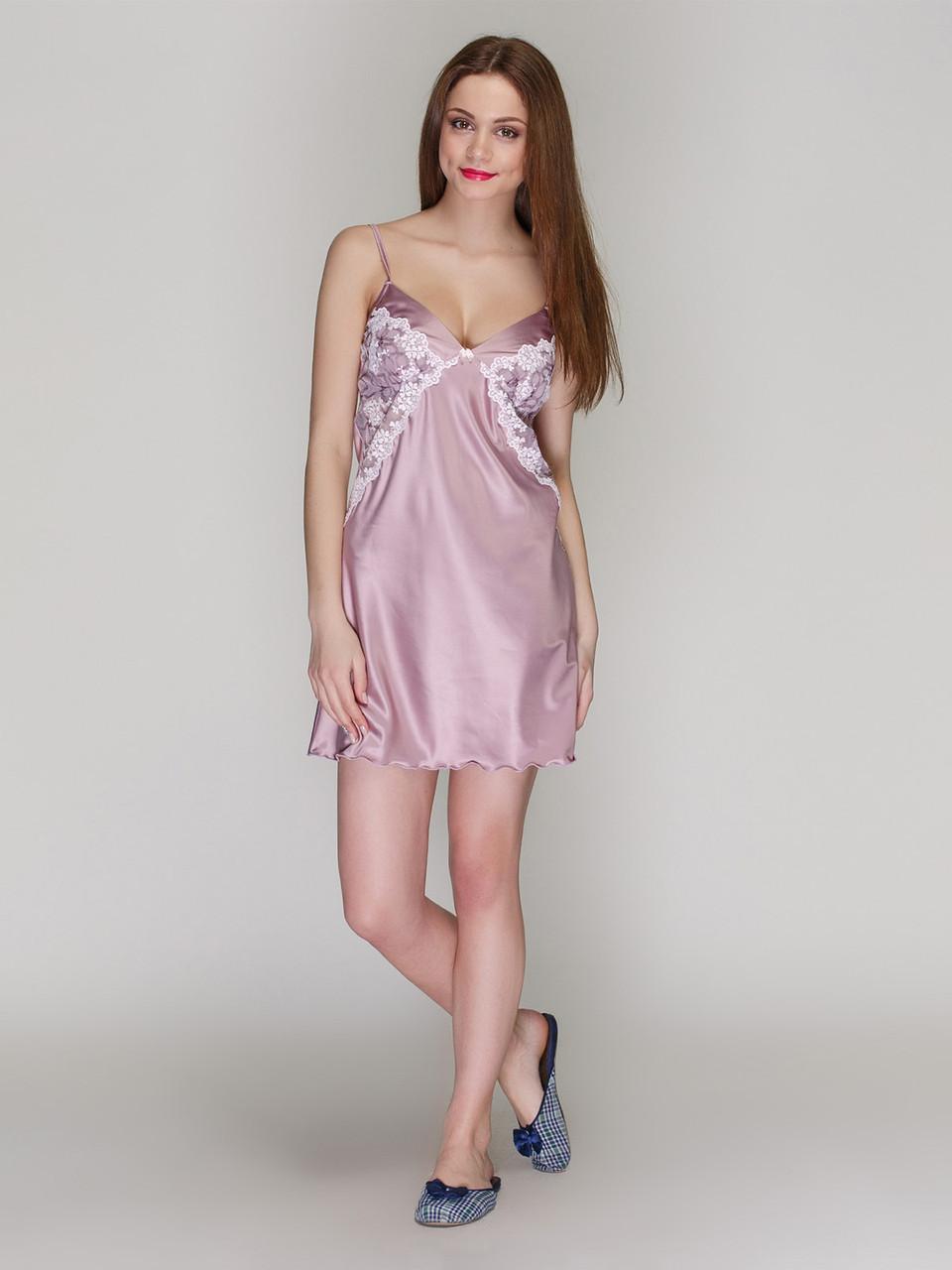 Сорочка Serenade сатин-шовк попіл троянди з мереживом