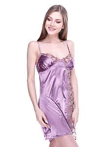Сорочка Serenade стрейч атлас глициниевый с кружевом