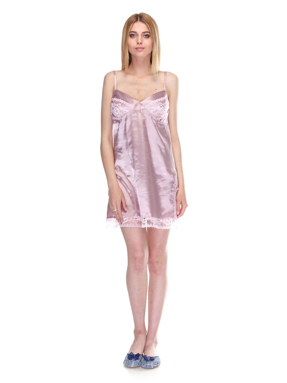 Сорочка Serenade стрейч атлас розовая с кружевом