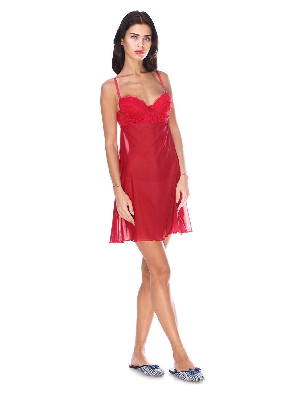 Сорочка Serenade красная сетка с кружевом